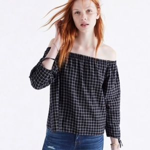 Madewell Black White Plaid Off The Shoulder Top